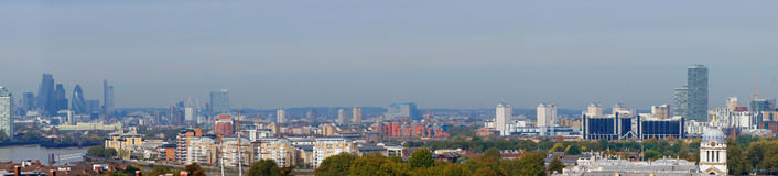 Panorama de ville de Londres de colline de Greenwich Photo libre de droits