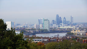 Panorama de ville de Londres de colline de Greenwich Photos libres de droits