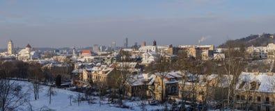 Panorama de Vilnius no inverno Foto de Stock