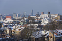 Panorama de Vilnius no inverno fotografia de stock royalty free