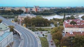 Panorama de Vistula River em Varsóvia filme