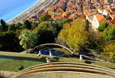 Panorama de vue d'oiseau de Nice, Frances Photos libres de droits