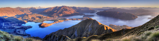 Panorama de Wanaka de lac, Nouvelle Zélande image stock