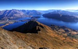 Panorama de Wanaka de lac, Nouvelle Zélande photographie stock libre de droits
