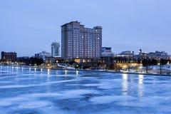Panorama de Wichita la nuit Photographie stock