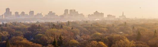 Panorama de Winnipeg en la salida del sol Fotografía de archivo