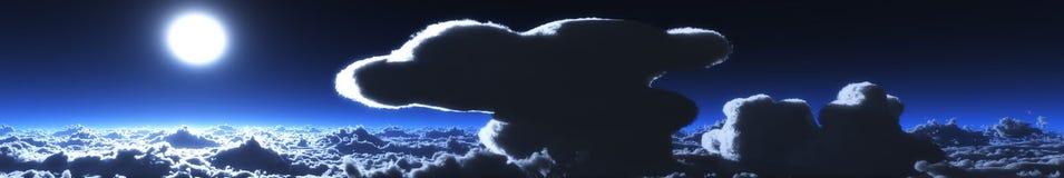 Panorama de wolken, een reusachtige wolk over het overzees royalty-vrije stock afbeelding