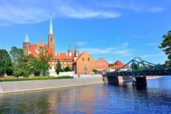 Panorama de Wroclaw, Pologne de la partie historique de la vieille ville images libres de droits