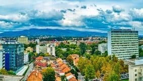 Panorama de Zagreb, Croacia foto de archivo