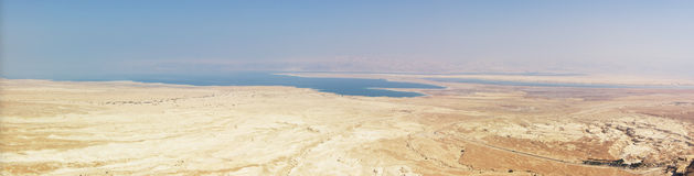 Panorama of Dead sea and Judea desert Royalty Free Stock Photo