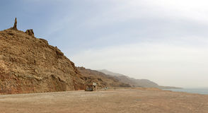 Panorama of the Dead Sea and Lot's wife statue Royalty Free Stock Photo