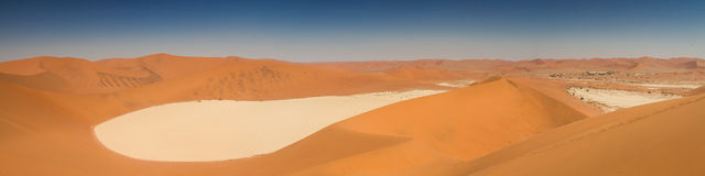 Panorama of the Dead Vlei salt pan. Namibia, Africa Stock Photo