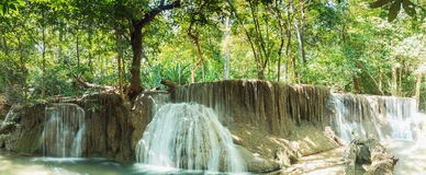 Panorama,Deep forest waterfall with beautiful Royalty Free Stock Photography
