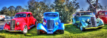 Panorama degli anni 30 Ford Tudors immagine stock libera da diritti