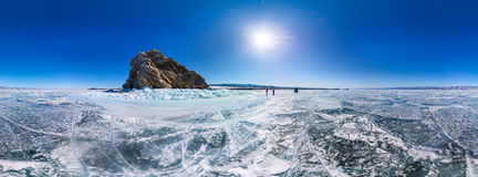 Panorama 360 degree Shaman Rock or Cape Burhan on Olkhon Island royalty free stock photo