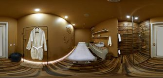 Panorama 360 degrees interior cosmetology office royalty free stock images
