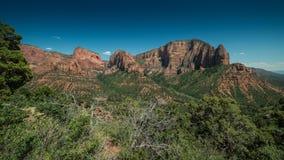 Panorama dei canyon di Kolobs con gli alberi nella priorità alta in Zion National Park, Utah un chiaro giorno Fotografie Stock