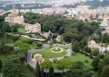 Panorama dei giardini del Vaticano Fotografia Stock Libera da Diritti