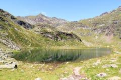 Panorama dei laghi Spronser e delle alpi della montagna nel gruppo di Texel, Tirolo del sud Immagine Stock Libera da Diritti