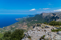 Panorama of Deia from the Tramuntana mountains, Baleares, Spain Stock Images