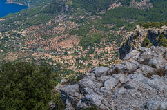 Panorama of Deia from the Tramuntana mountains, Baleares, Spain Royalty Free Stock Image