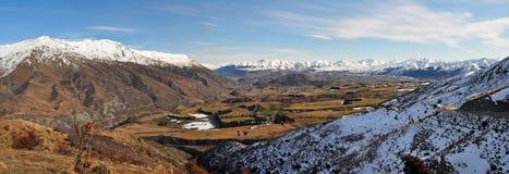 Panorama del bacino di Wakatipu, Otago, Nuova Zelanda Fotografia Stock Libera da Diritti