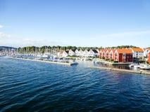 Panorama del barco del puerto del verano de Stavanger Grasholmen Imagen de archivo