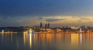 Panorama del boulevard della spiaggia in Baku Azerbaijan Immagini Stock Libere da Diritti