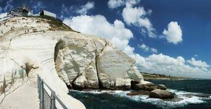 Panorama del cabo del nikra de Rosh ha, Israel Fotos de archivo libres de regalías