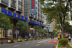 Panorama del camino famoso de Nanjing en Shangai China Fotografía de archivo
