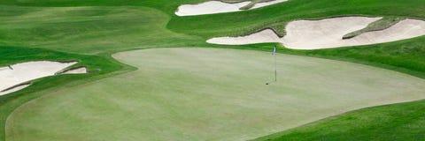 Panorama del campo de golf Fotos de archivo