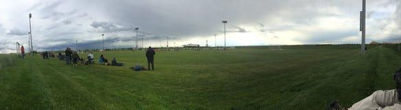 Panorama del campo di calcio Immagine Stock Libera da Diritti
