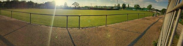 Panorama del campo di calcio fotografia stock libera da diritti