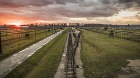 Panorama del campo di concentramento di Birkenau Immagini Stock