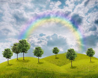 Panorama del campo verde con árboles Libre Illustration