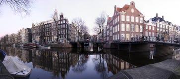 Panorama del canale di Amsterdam Fotografie Stock