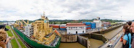 Panorama del canale di Panama fotografia stock libera da diritti