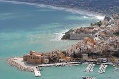 Panorama del Castellammare del Golfo Fotografia Stock