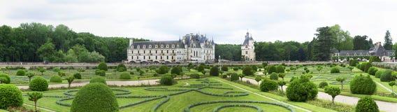 Panorama del castello di Chenonceau immagine stock