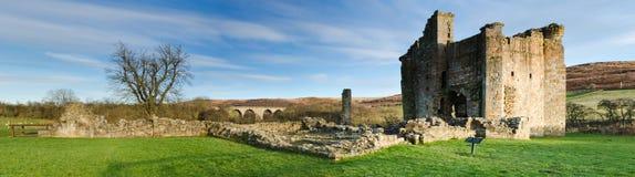 Panorama del castello di Edlingham Fotografia Stock