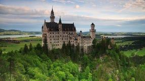 Panorama del castello di Neuschwanstein Immagine Stock Libera da Diritti