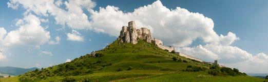 Panorama del castello di Spis, ské Podhradie del ¡ di SpiÅ Fotografia Stock