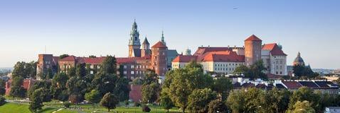 Panorama del castello di Wawel Fotografie Stock Libere da Diritti