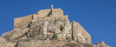 Panorama del castello medievale sopra la roccia a Morella Immagini Stock
