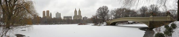 Panorama del Central Park con il ponticello dell'arco in inverno Fotografia Stock Libera da Diritti