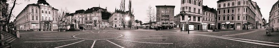 Panorama del centro de Ljubljana Foto de archivo libre de regalías