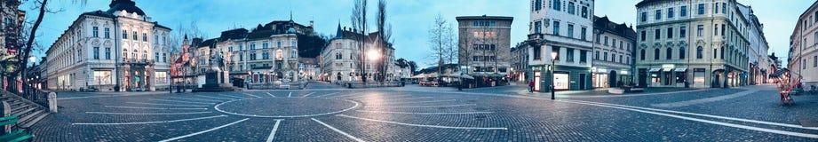 Panorama del centro de Ljubljana Imagen de archivo