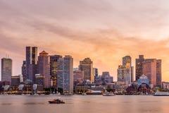 Panorama del centro dell'orizzonte di Boston Fotografia Stock Libera da Diritti