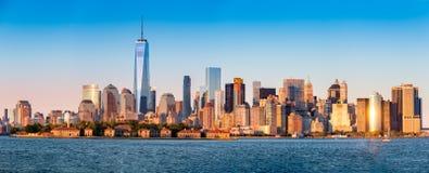 Panorama del centro dell'orizzonte di New York Fotografie Stock Libere da Diritti