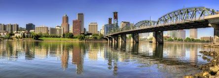 Panorama del centro dell'orizzonte di Portland Oregon Fotografia Stock